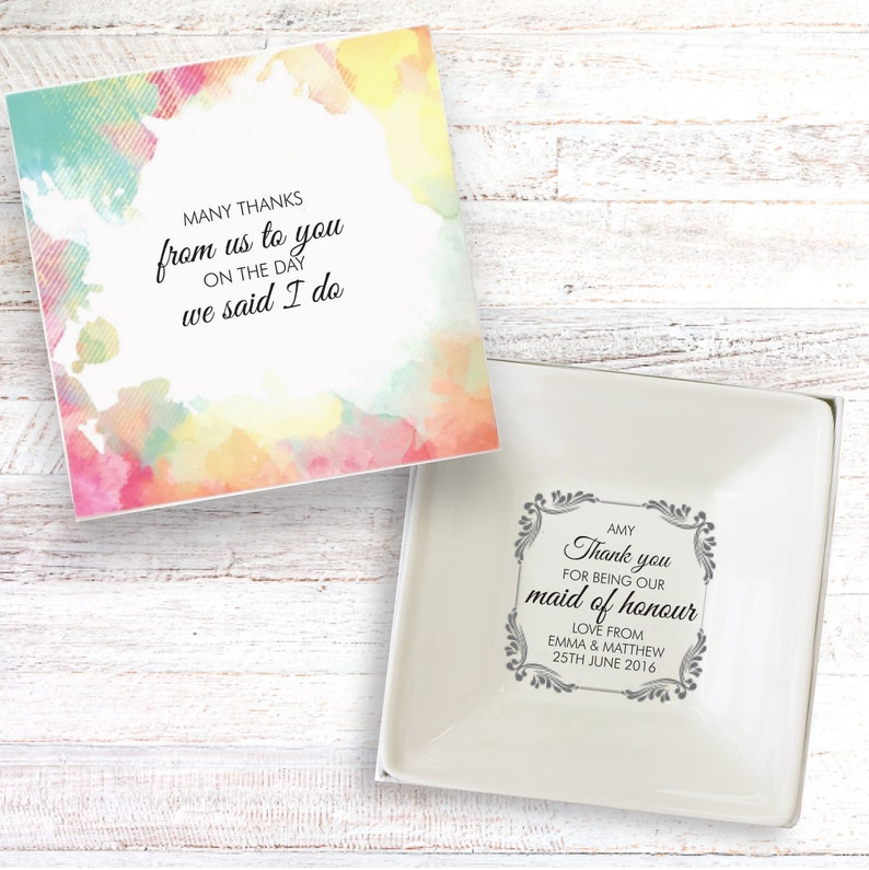 Maid of Honour thank you present personalised gift dish image 0