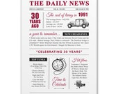 30th pearl wedding anniversary gift present vintage newspaper A4 print year 1991 on the year you were married
