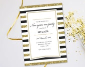 New years eve NYE party invitations. Evening disco casino hogmanay glitter gold black tie cards invites. Personalised, 10 Pack GLF_10