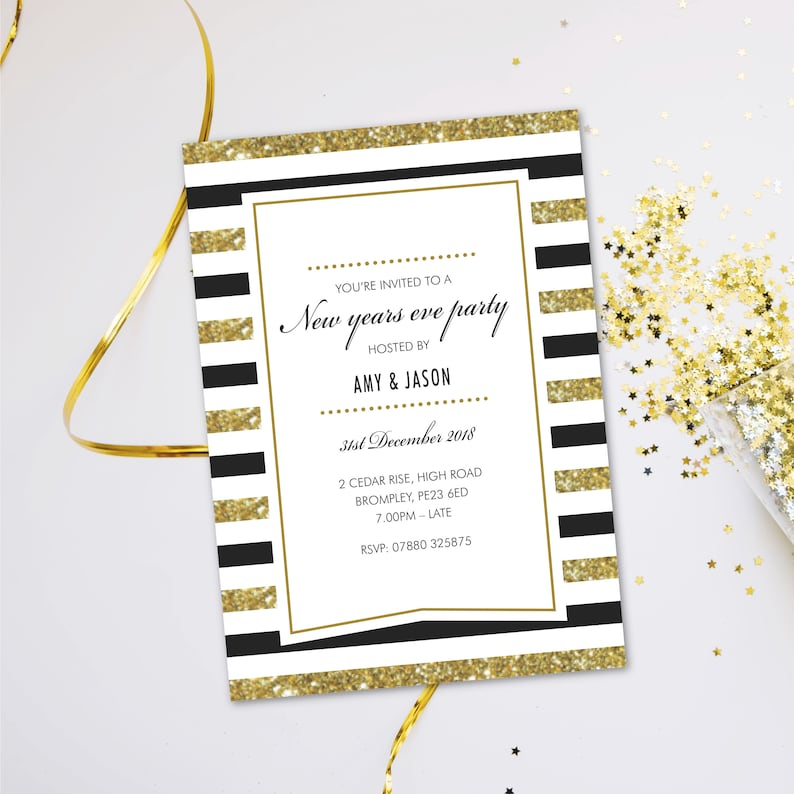 New years eve NYE party invitations. Evening disco casino image 0