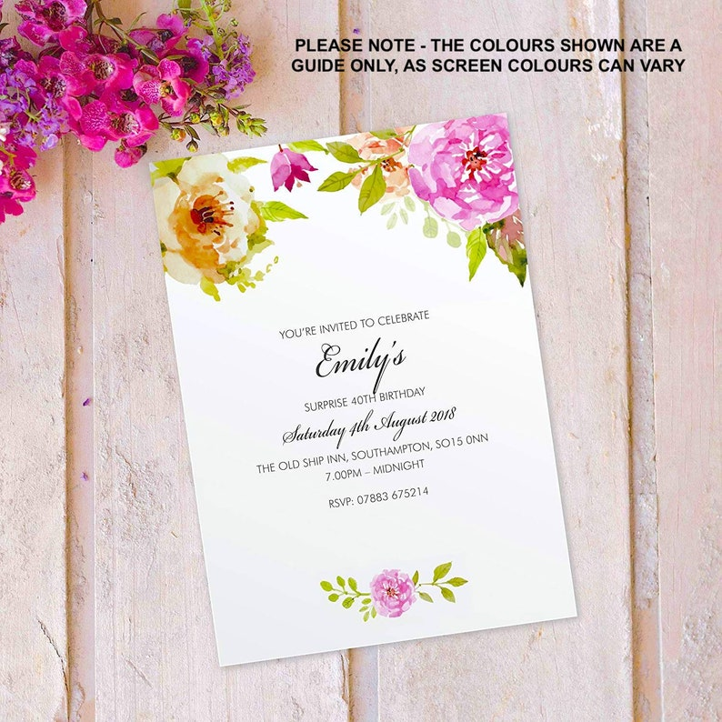 Surprise birthday party invitations for women floral cards image 0