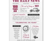 100th birthday present personalised gift. On the day you were born year 1921 poster newspaper A4 print for women her men