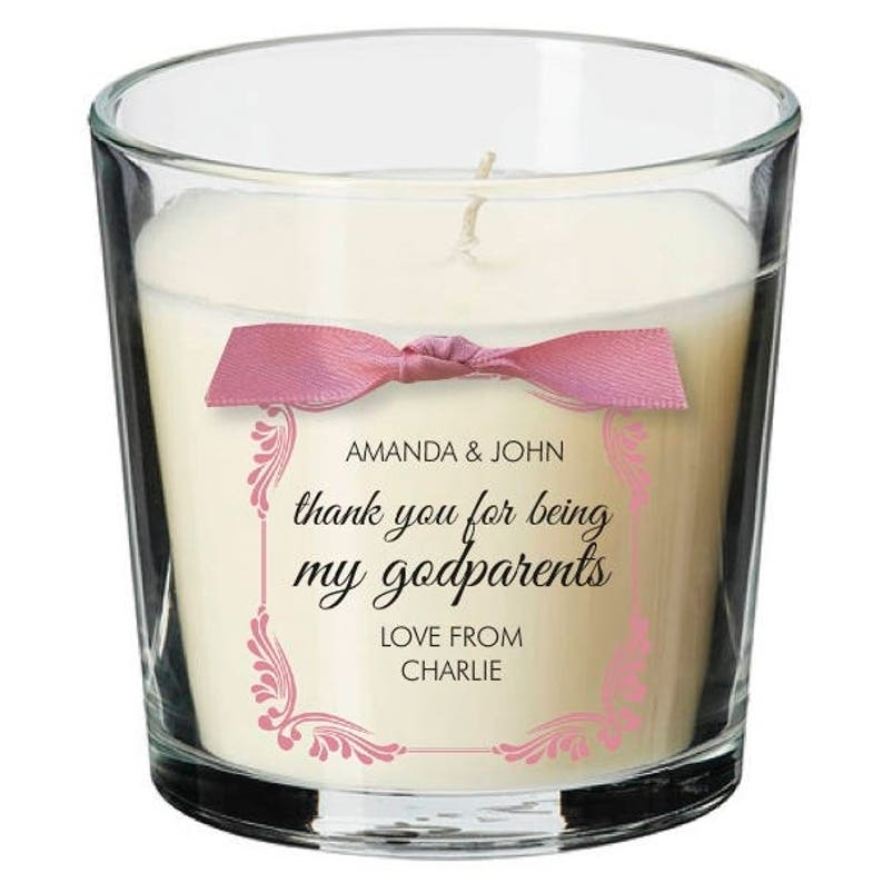 Godparents present personalised candle christening naming image 0