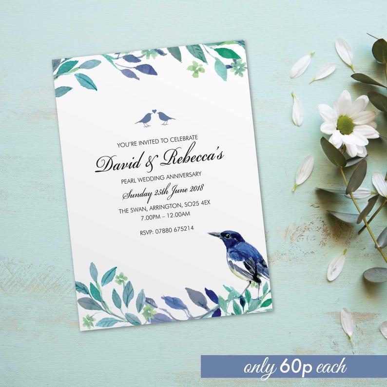 Pearl wedding anniversary invitations invites cards. image 0