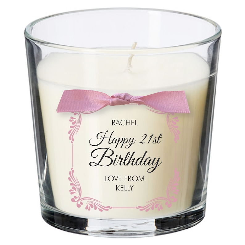 21st birthday present personalised gift candle gifts for women image 0