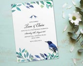 Post wedding celebration invitations invites cards we're married tied the knot. Personalised love bird vintage design. 10 pack FLF_03