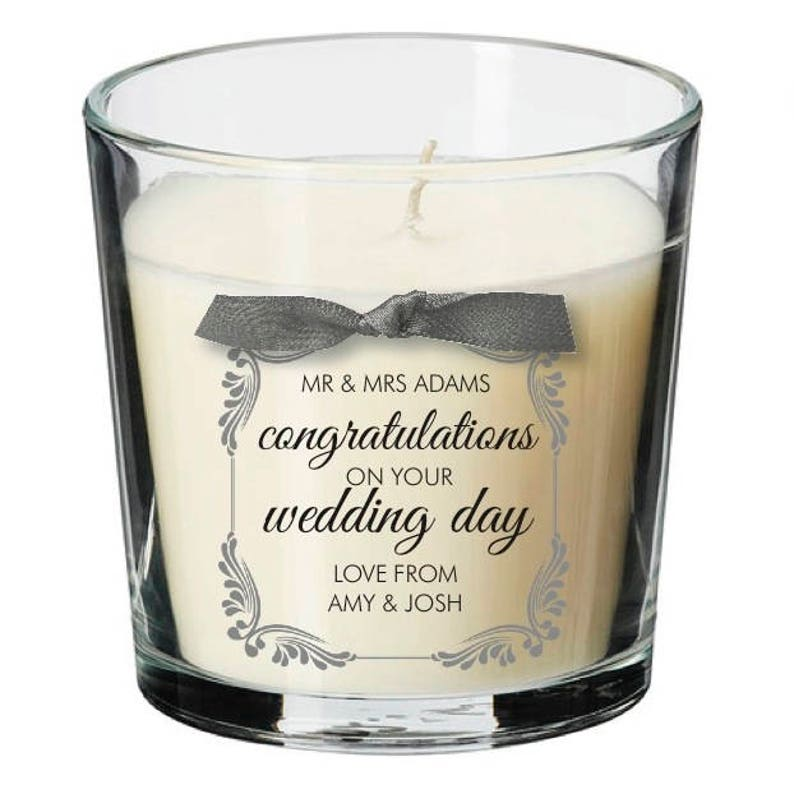 Wedding present personalised candle guest party evening day image 0