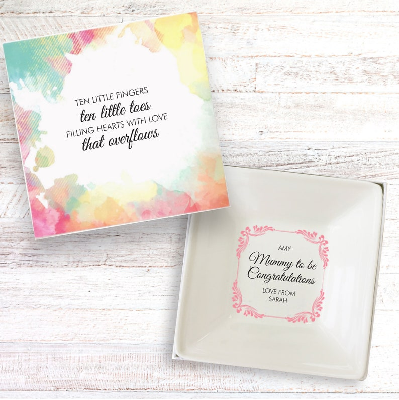 Maternity leave present personalised gift dish baby shower image 0