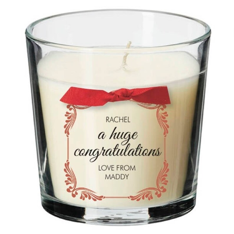 Congratulations present personalised candle promotion well image 0