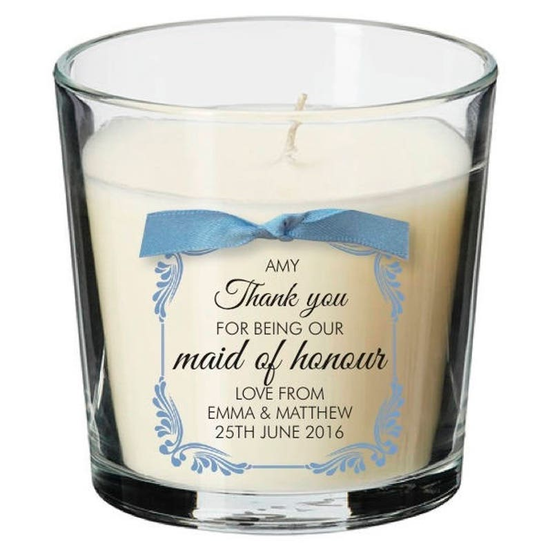 Maid of Honour present personalised candle wedding thank you image 0