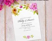 Ruby wedding anniversary invitations invites cards. Personalised floral flower vintage design. 10 Pack FLF_06