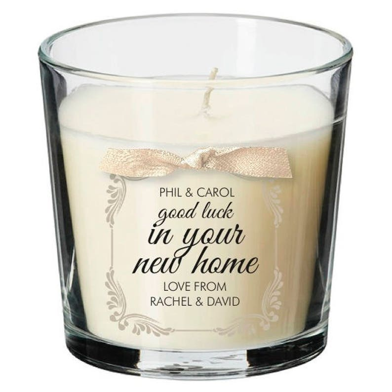 New home present personalised candle moving in house warming image 0
