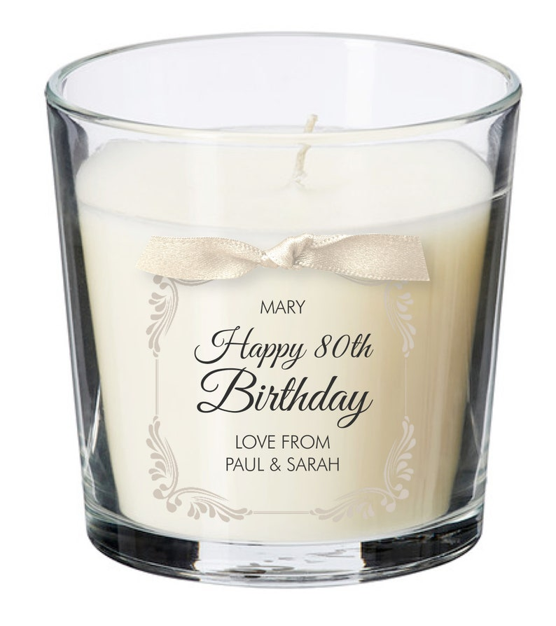 80th birthday present personalised gift candle gifts for women image 0