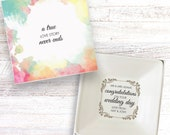Wedding day congratulations guest present personalised gift dish ring cufflink jewellery trinket box keepsake DH_07