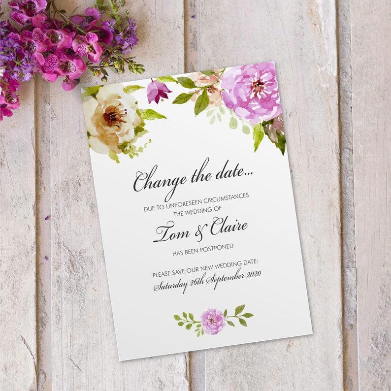 Wedding change of date invitations invites cards postponed image 0