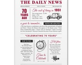 70th birthday present gift. On the day you were born year 1951 poster newspaper A4 print for women her men