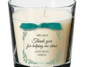 Teacher teaching assistant present personalised candle thank you gift 034