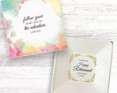 Retirement present personalised gift dish leaving work retiring party cufflinks jewellery trinket box keepsake DH_18
