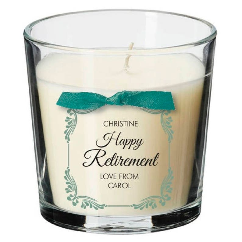 Retirement present personalised candle leaving work retiring image 0