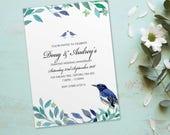 Diamond wedding anniversary invitations invites cards. Personalised love bird vintage design. 10 Pack BDF_08