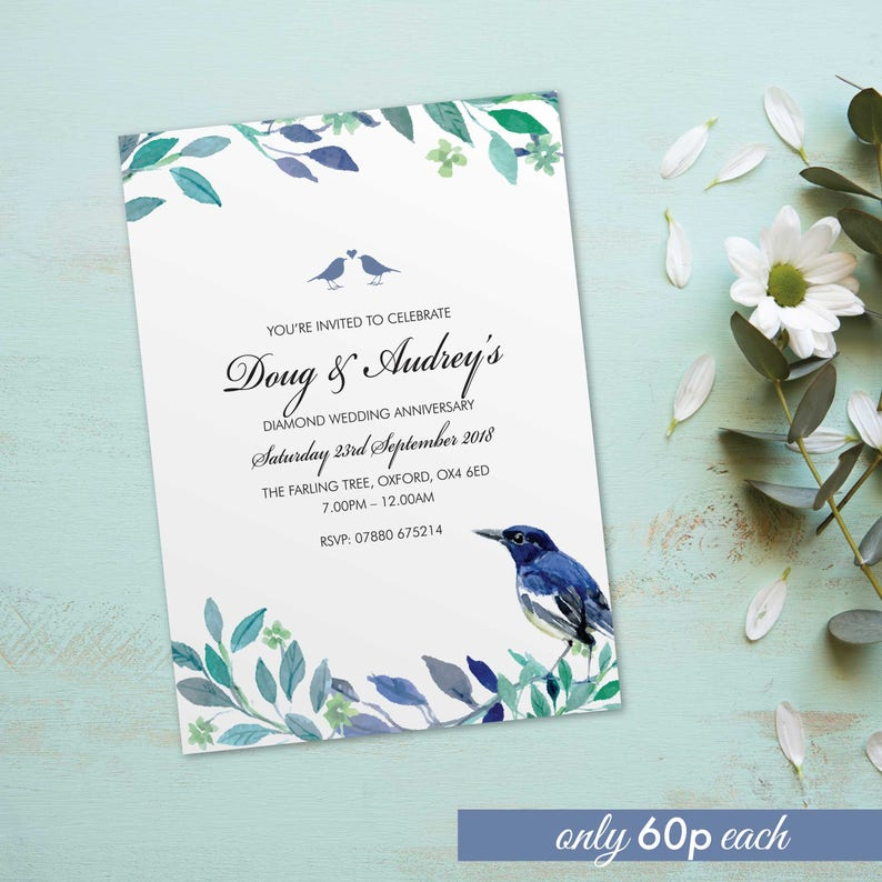 Diamond wedding anniversary invitations invites cards. image 0