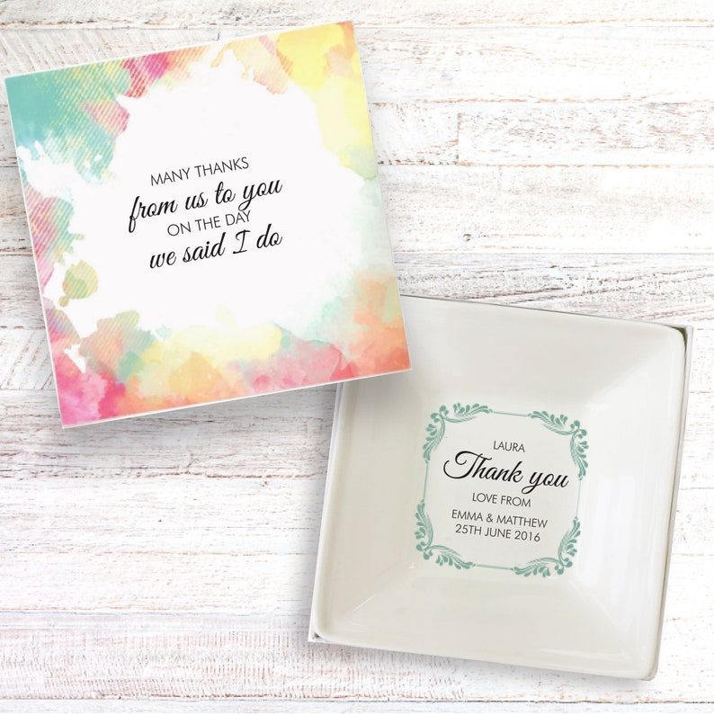 Wedding Party Guests thank you present personalised gift dish image 0