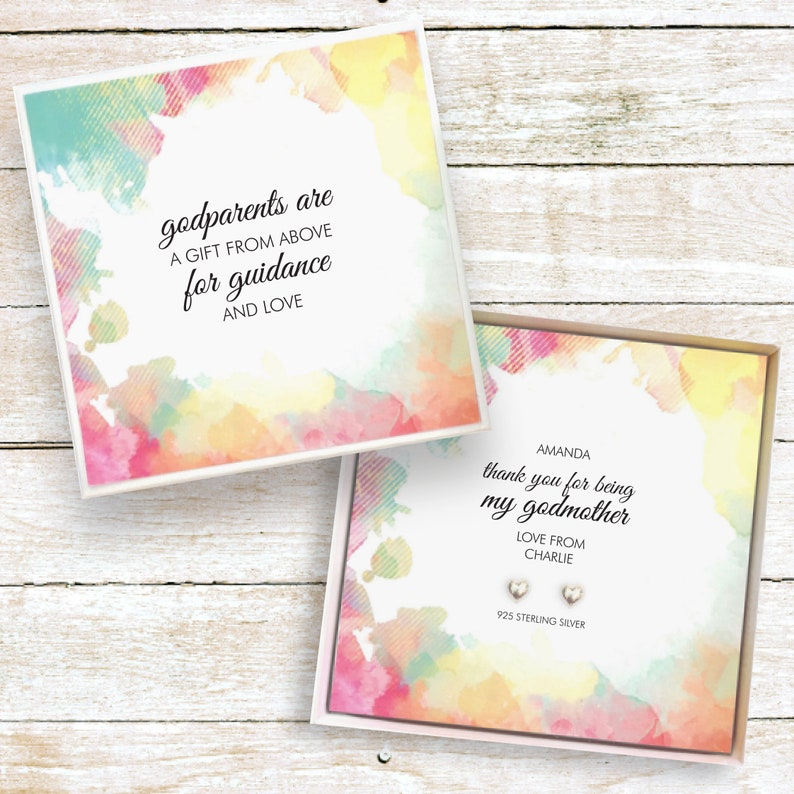 Godmother present personalised gift earrings christening image 0
