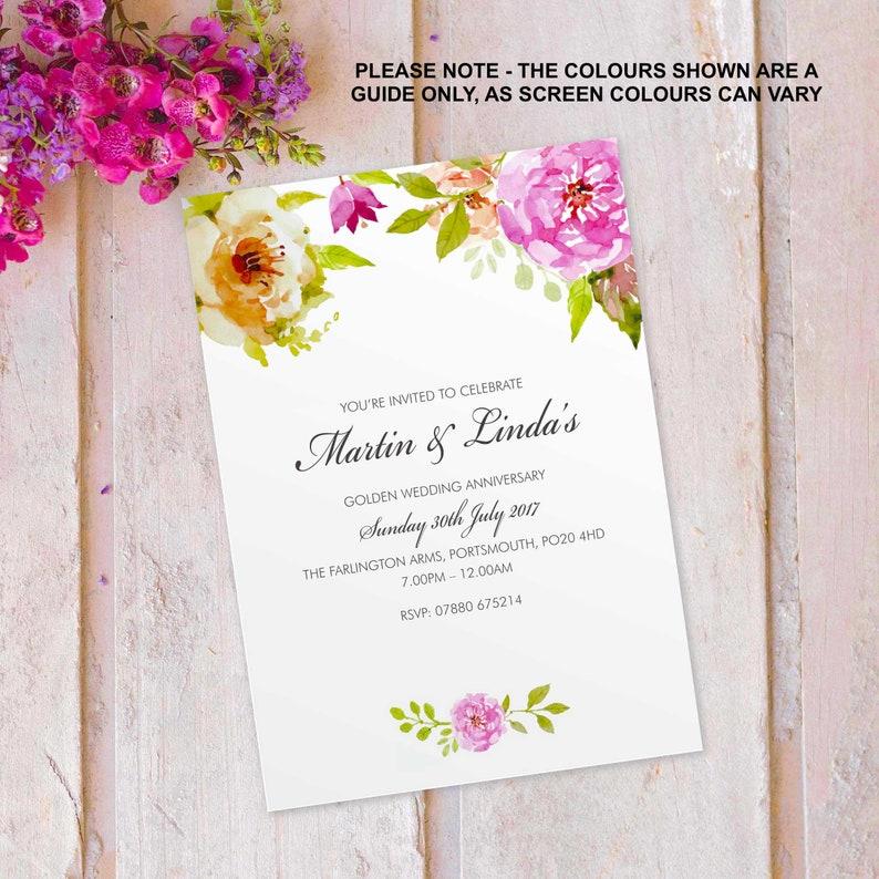 Golden wedding anniversary invitations invites cards. image 0