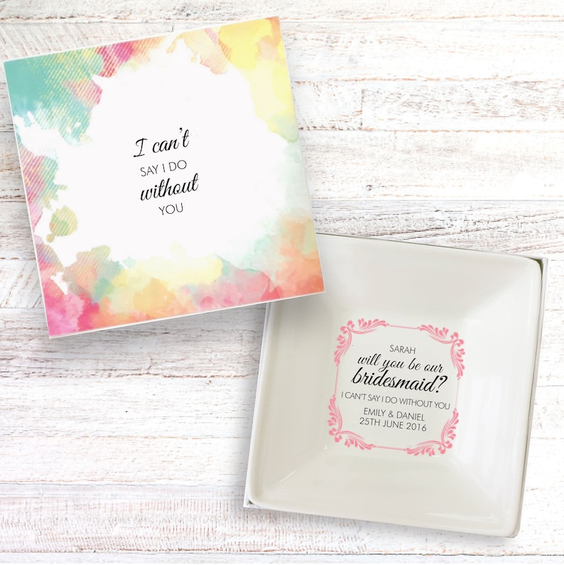 Will you be my bridesmaid present personalised gift dish image 0