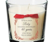 Silver Ruby Golden wedding anniversary party present personalised candle gift 015