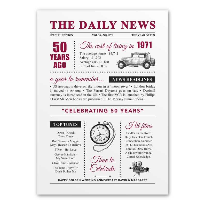 50th Golden wedding anniversary personalised vintage poster A4 image 0