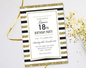 Surprise birthday party invitations for women men. Evening disco karaoke glitter black tie cards invites. Personalised, 10 Pack GLF_04