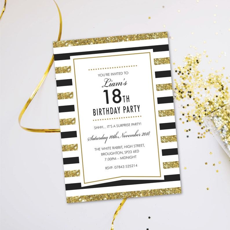 Surprise birthday party invitations for women men. Evening image 0