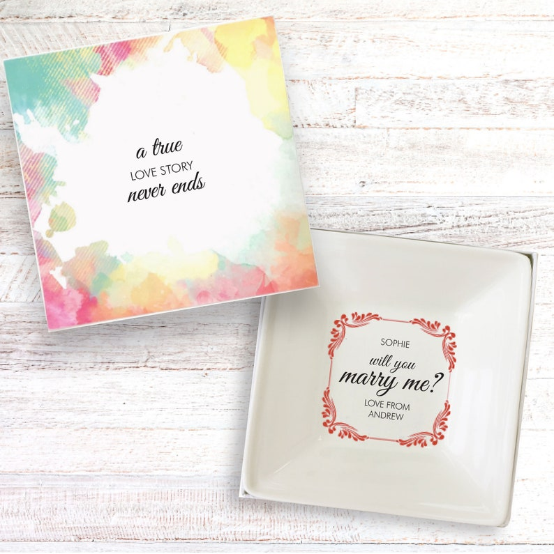 Will you marry me personalised gift dish propose wedding image 0