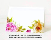 50x Placecards place cards wedding seating place setting table name tent card diy blank. Vintage floral flower design FLS_01_50