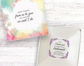 Bridesmaid thank you present personalised gift dish jewellery trinket box keepsake DH_03