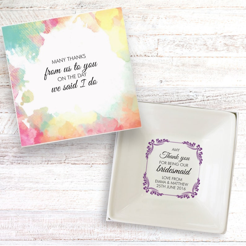 Bridesmaid thank you present personalised gift dish jewellery image 0