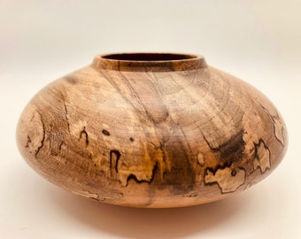 Turned spalted maple vase. Tiny turned artwork.