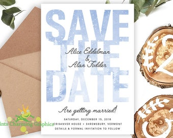 Minimalist Winter Forest Save The Date • Snow • Rustic • Print Yourself or Here Professionally!