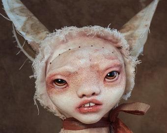 EIKI - rabbit - ooak - art doll - textile art - solf sculpture - original - figurative art