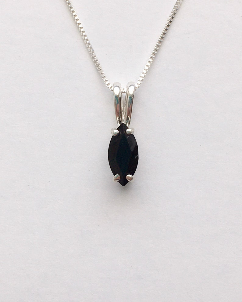black stone necklace black sapphire pendant Genuine black sapphire necklace black sapphire jewelry September birthstone necklace