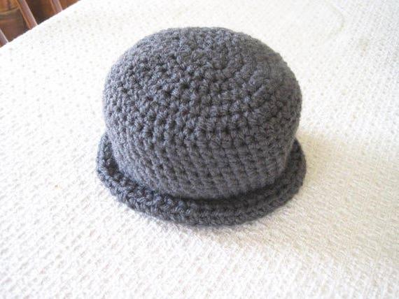 Gray Baby Bowler Hat Crochet Baby Boy Hat 6-9 Months Gray  943bd11a46a