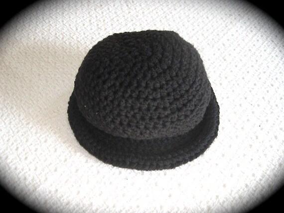 Baby Bowler Hat Crochet Baby Boy Hat 6-12 Months Black  89ab87f1837