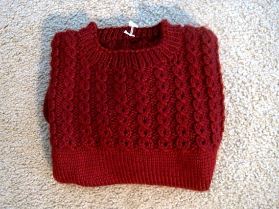 c0712295aeac Knit Baby Child Sweater Pullover Size 3 Red Knitted Sweater