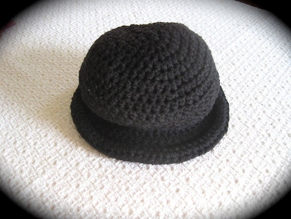 Baby Bowler Hat Crochet Baby Boy Hat 6-12 Months Black  f06d52014f6e