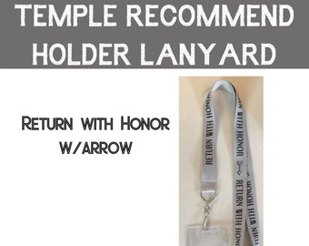 Temple Recommend Lanyard with pouch Return with Honor - Primary temple preview Youth temple trip Girls Camp Youth Conference LDS temples