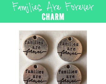 Families Are Forever CHARM (4) round Latter-day Saint charm antique pewter - 4 charms per pack - primary young women