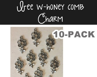 Bee w/honey comb charm 10-pack (10) antique pewter CHARM flowers bee honey spring summer bracelet necklace charm hiking jewelry