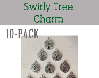 Swirly Tree round CHARM 10-pack (10) antique pewter tree meadow forest nature spring summer  bracelet necklace charm