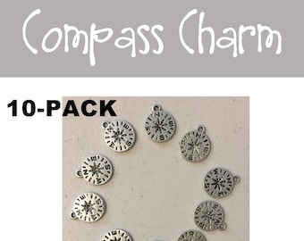 Compass small CHARM 10-pack (10) antique pewter navigation hiking road trip nature mountain adventure bracelet necklace charm